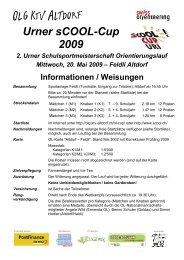 Informationen / Weisungen Urner sCOOL-Cup 2009 - OLG KTV Altdorf