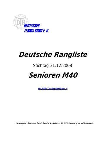Deutsche Rangliste Senioren M40 - Tennis - Bohlender