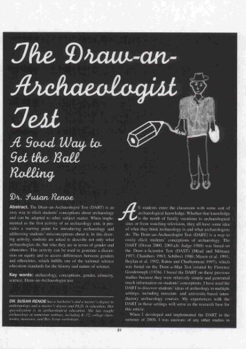 The Draw-an-Archaeologist Test. - Society for American Archaeology