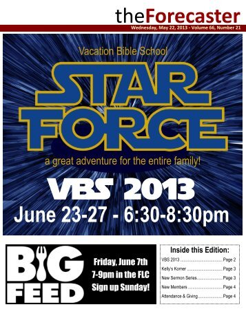 May 22: Cover Story - Star Force, VBS 2013 - Fairmount Christian ...