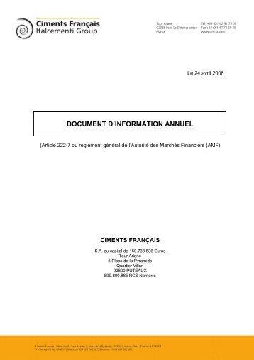 Document annuel d'information au 24 avril 2008 - Ciments Français