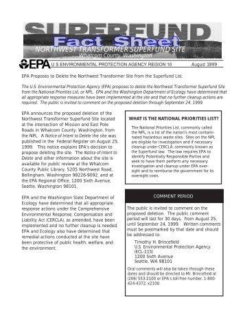 northwest transformer superfund site - Environmental Protection ...