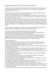 CONDITIONS GENERALES D'UTILISATION DE YES! MESSENGER ...