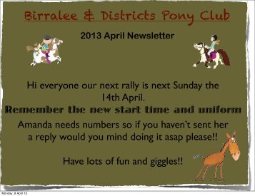 April 2013 - Birralee and Districts Pony Club INC