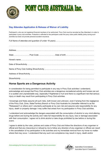 Day Attendance Waiver Form - West Tamar Pony & Riding Club
