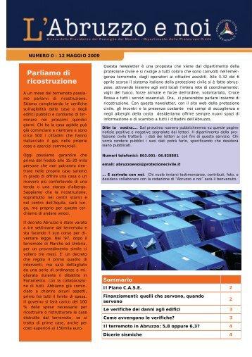 numero 0 del 12 maggio - Dipartimento della Protezione Civile
