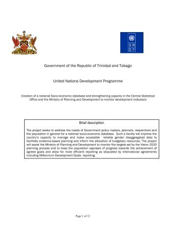 Project Document Link - UNDP Trinidad and Tobago