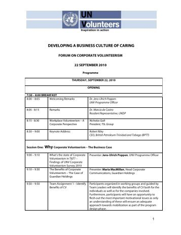 Programme - UNDP Trinidad and Tobago