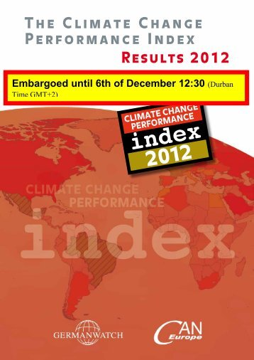 The Climate Change Performance Index Results 2012 - WWF