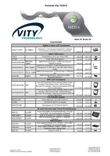 Preisliste Vity 10/2012 - Steinbild Media GmbH