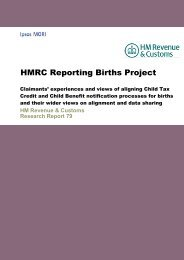 HMRC Reporting Births Project - Revenue Benefits