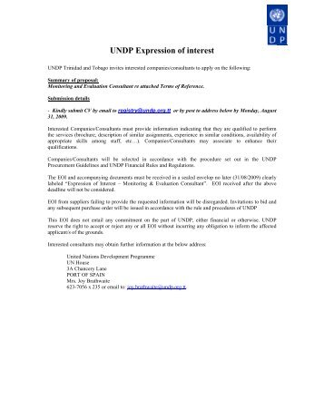 UNDP Expression of interest - UNDP Trinidad and Tobago