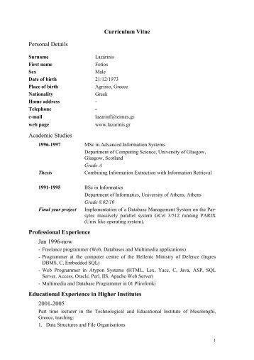 curriculum vitae personal details academic studies professional