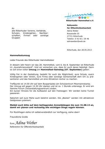 Mustervorlage für RHV Briefbogen - Hammefest in Ritterhude