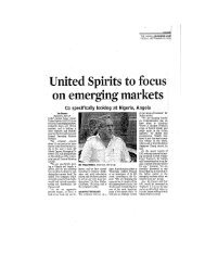 United Spirits to focus on emerging markets - UB Group