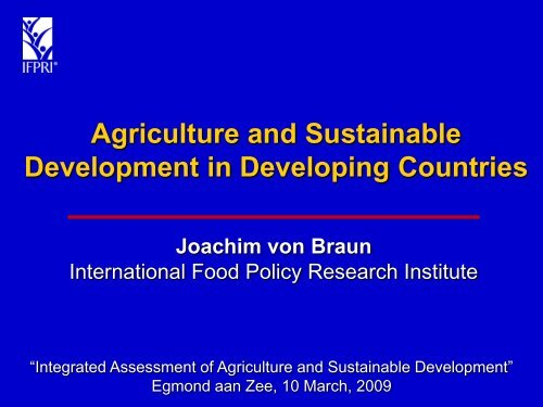 Agriculture and Sustainable Development in Developing Countries