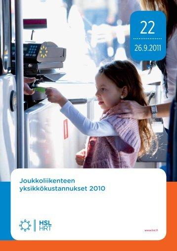 Joukkoliikenteen yksikkökustannukset 2010 - HSL
