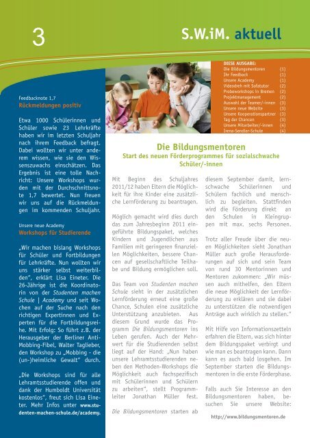 Download des Newsletters - Studenten machen Schule