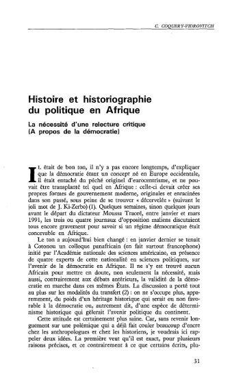 Histoire et historiographie du politique en Afrique - Politique Africaine
