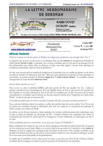 Volume V - lettre n°29 - Association Deborah Guitel