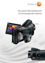 Ausführliche technische Daten der Wärmebildkamera testo 885 für