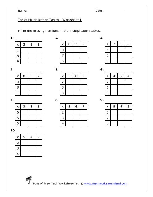 Multiplication Tables 5-Pack - Math Worksheets Land