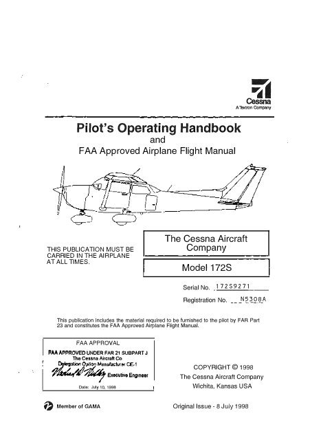 Pilot S Operating Handbook At Option Manufacturer CE 1