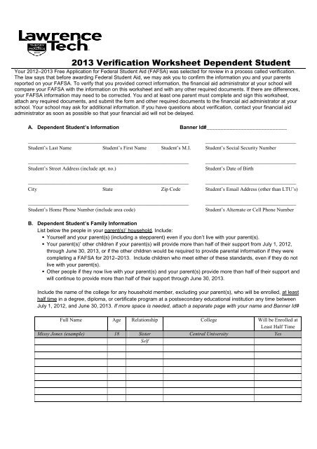 Dependent Verification Worksheet Lawrence Technological