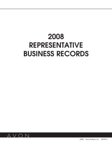 2008 REPRESENTATIVE BUSINESS RECORDS