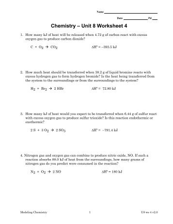 Chemistry Unit 4 Worksheet 2 Answers