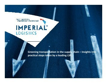 Greening transportation in the supply chain - IMPERIAL Logistics