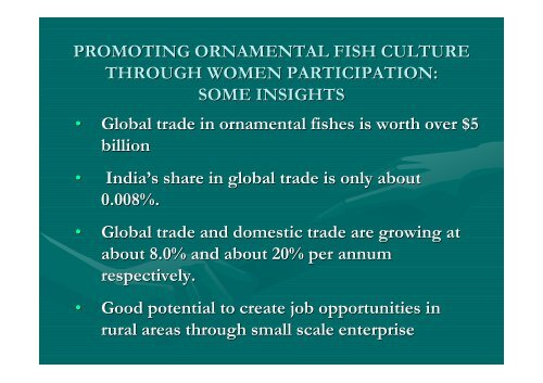 Promoting Ornamental Fish Culture Through Women
