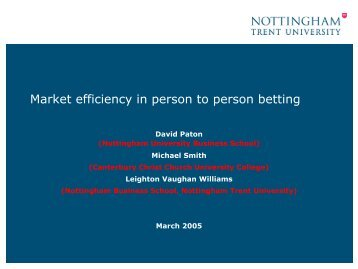Efficiency, Taxation and Regulation of Modern Betting Markets