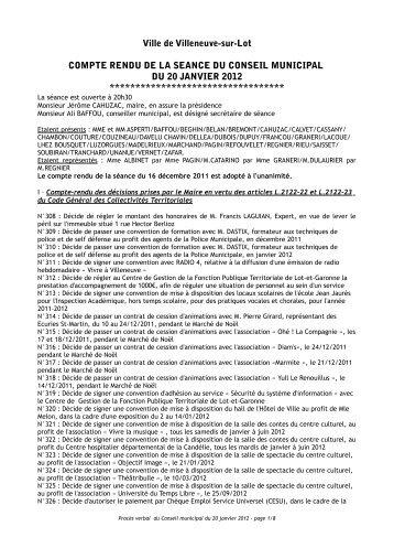 Séance du 20 janvier 2012 - Villeneuve sur Lot