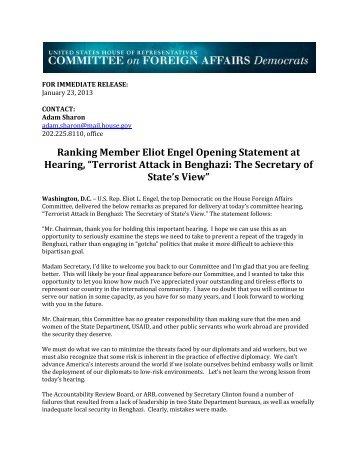 Ranking Member Eliot Engel Opening Statement at Hearing ...
