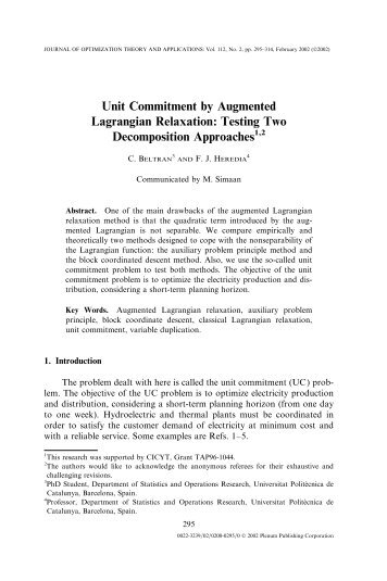 Unit Commitment by Augmented Lagrangian Relaxation ... - GNOM