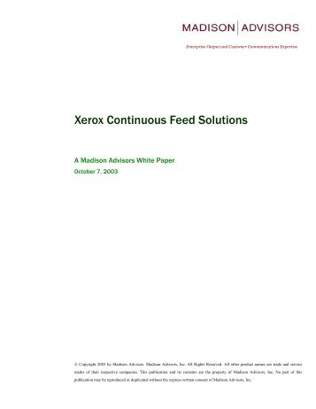 Xerox Continuous Feed Solutions