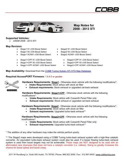Map Notes for 2008 - 2013 STI - Cobb Tuning