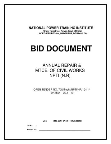 Tender notice for Annual Repair & Mtce. of Civil Works at NPTI - NR ...