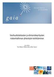 Vesihuoltolaitosten ja elintarvikeyritysten riskienhallinnan yhteistyön ...