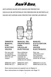 owner's manual for electric valves manual del propietario ... - Rain Bird