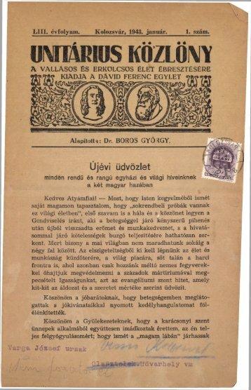 1943 - Magyarországi Unitárius Egyház