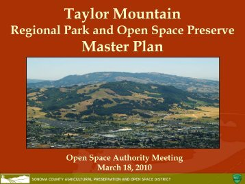 Taylor Mountain Master Plan - Sonoma County Agricultural ...