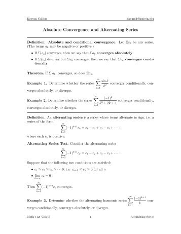 convergence and divergence of infinite series pdf