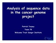 Analysis of sequence data in the cancer genome project