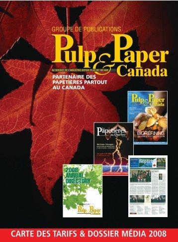 carte des tarifs & dossier média 2008 - Pulp and Paper Canada