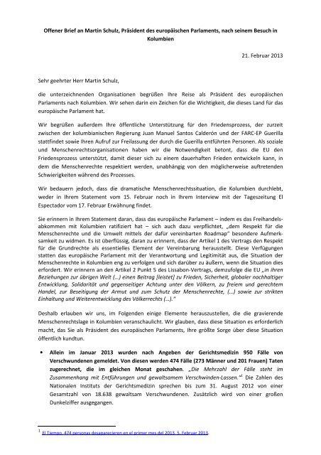Offener Brief an Martin Schulz, Präsident des europäischen ...