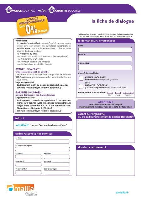 formulaire avance loca pass