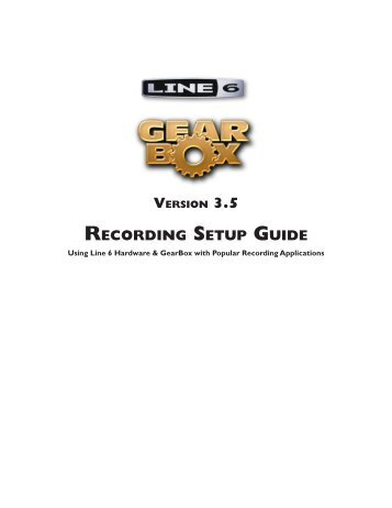 Line 6 GearBox 3.5 - Recording Setup Guide - MIDI Manuals