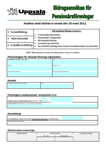 Ansökan skall skickas in senast den 15 mars ... - Uppsala kommun